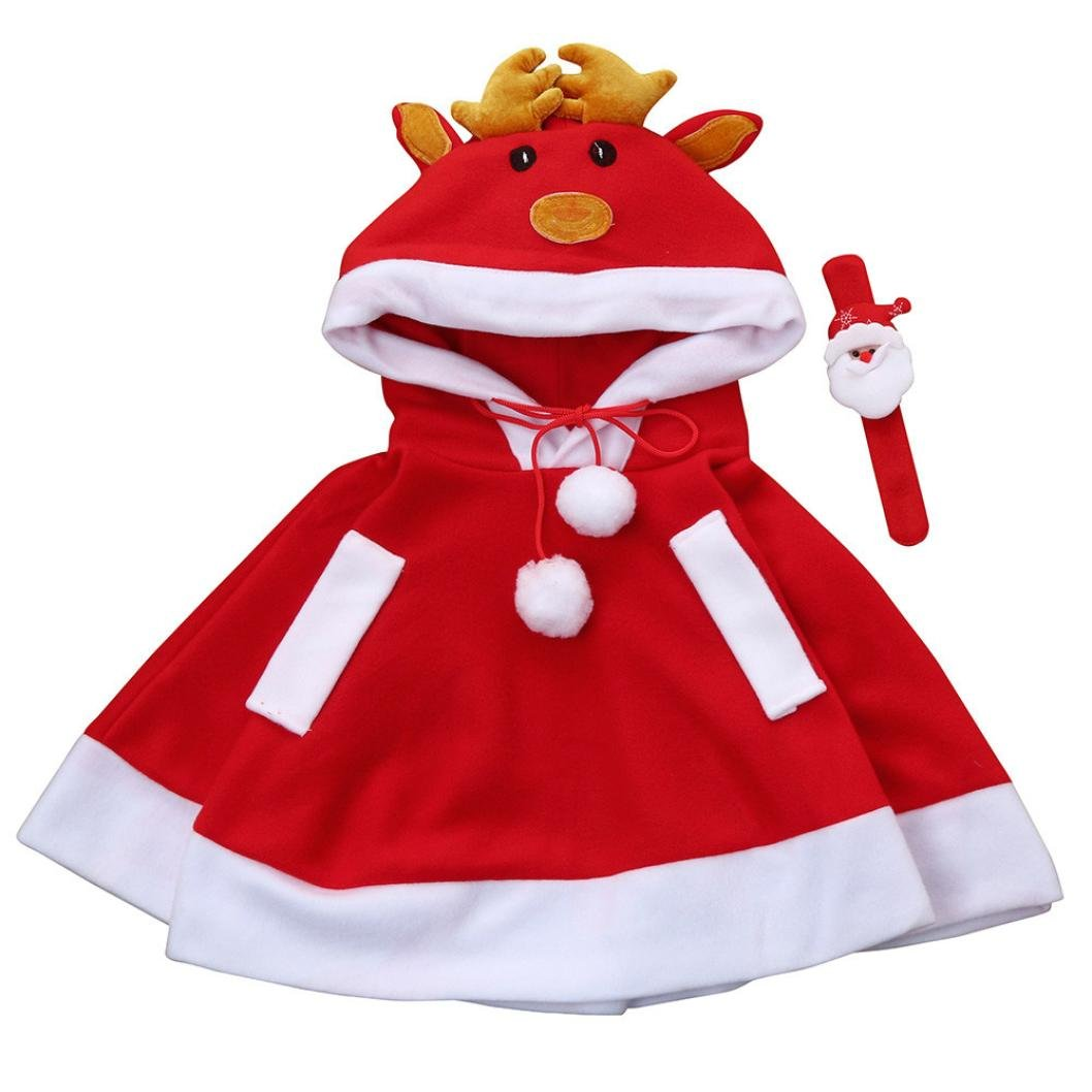 WeiYun Fashion Kids Childrens' Christmas Costume Deer Hooded Cosplay Cape Cloak for Boys Girls(3~7T) (3T)