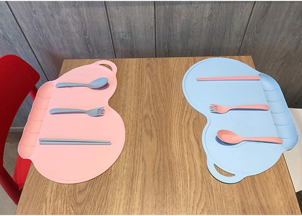 X-Labor Ensemble de table pour b/éb/é et enfant avec bac de r/écup/ération en silicone /étanche antid/érapant lavable Plateau b/éb/é Tapis de table 40 x 27 cm St/ück x1 bleu