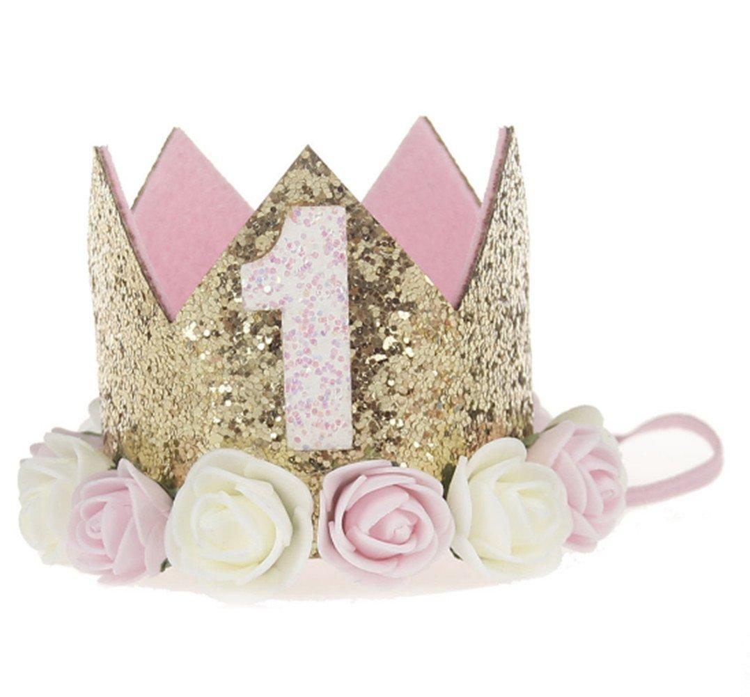 Katech mignon bébé Couronne Festival fête d'anniversaire Fleur artificielle couronnes Bandeau enfants filles ou garçons Accessoires Cheveux
