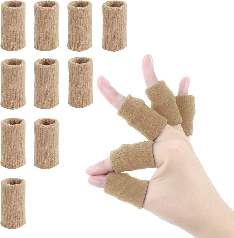 Finger Sleeves, Tiction Thumb Splint Brace Support Protector Breathable Elastic Finger Tape for Pain Relief Arthritis Trigger Finger Sports Aid Basketball Baseball Volleyball (Finger Sleeves10PC): Industrial & Scientific
