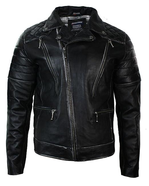 disponibilità nel Regno Unito c2088 36fae Giacca Corta da Uomo in Vera Pelle Nera con Zip Laterale Biker Vintage Punk  Rock nero