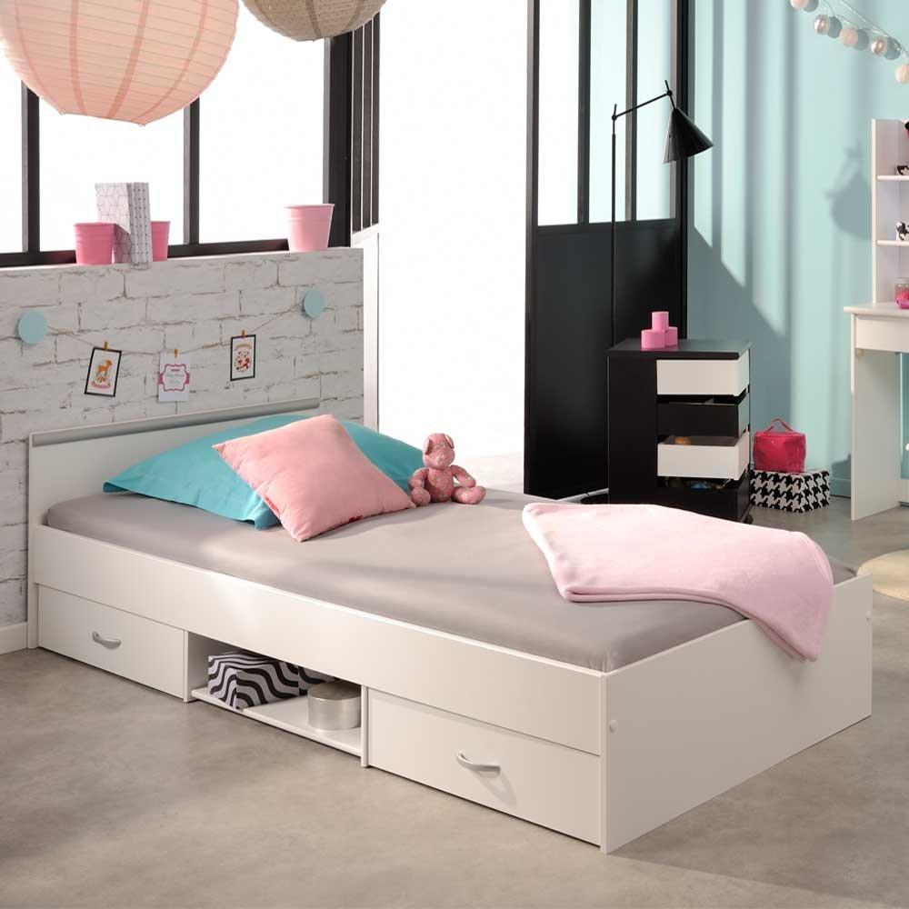 Pharao24 Jugendzimmer Bett in Weiß Schubladen Breite 145 cm Liegefläche 140x200