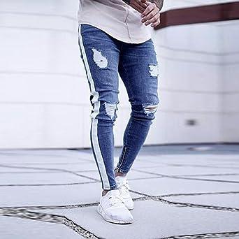 DOGZI Hombres Pantalones,antalones Vaqueros Rotos Hombre Jeans Pantalones Elásticos Skinny Slim Fit Delgados Pantalones Largos de Mezclilla de Cintura ...