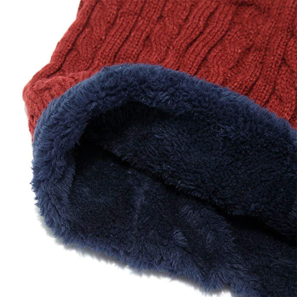 Bonnet Tricot Homme Chapeau en Tricot avec Écharpe Hiver Chaud Cache Cou  Chapeau de Ski c1e8703fff2