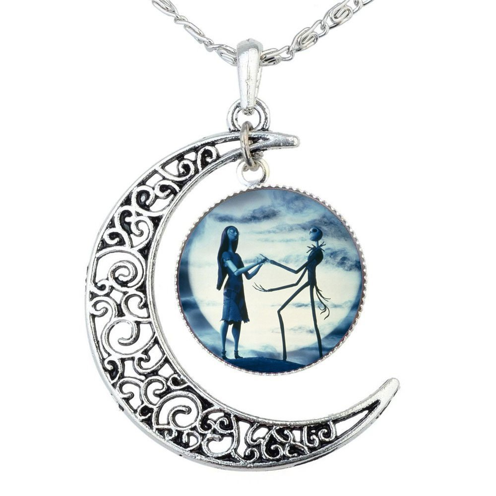 Jack Skellington Necklace Pendant Gift, Jack and Sally Nightmare Before Christmas (Blue) ILJILU IL-NE88