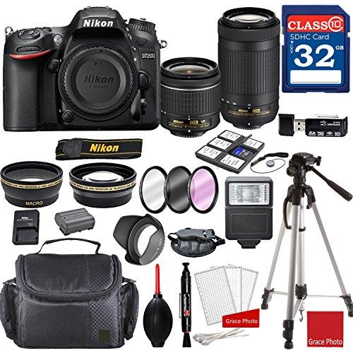 Nikon D7200 DX-format Digital SLR w/AF-P DX NIKKOR 18-55mm f/3.5-5.6G VR Lens & AF-P DX 70-300mm f/4.5-6.3G ED Lens + Professional Accessory Bundle