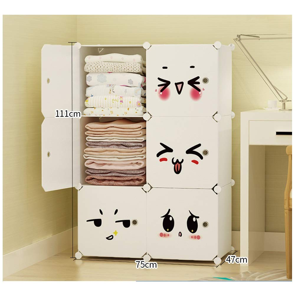 Wardrobe Simple Assembly Wardrobe Plastic Storage Wardrobe Economical Simple Modern Wardrobe (Color : Natural, Size : 3)