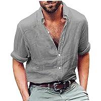 EElabper Camisas de manga larga de lino para hombre, estilo informal, de algodón, para verano, livianas