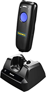 NADAMOO Wireless Barcode Scanner Compatible with Bluetooth, with Charging Dock, Portable USB 1D Bar Code Scanner for Inventory, 2.4G Wireless & Wired Barcode Reader for Tablet iPhone iPad Android iOS