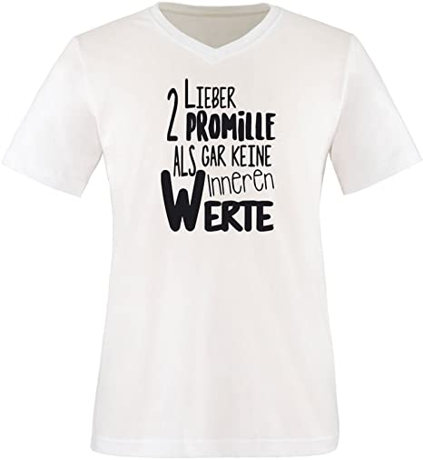 Luckja Lieber 2 Promille als gar keine inneren Werte Herren V-Neck T-Shirt:  Amazon.de: Bekleidung