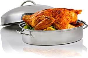 Ovente CWR32161, Stainless Steel Oval Roasting Pan, Lid and Rack, 16-Inches, 16 inches