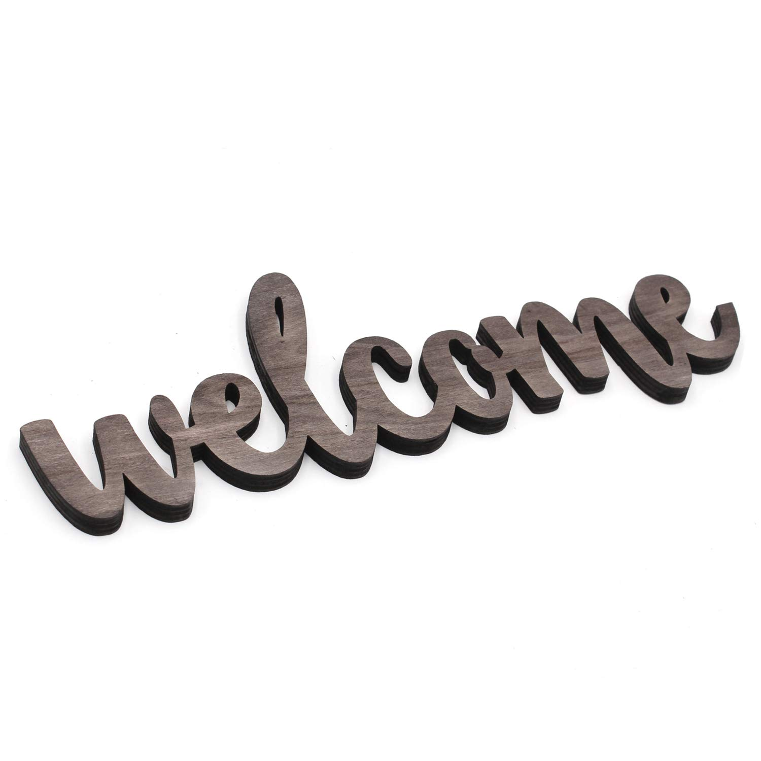 KU-DaYi Welcome Cutout Wood Sign Home Décor Wall Art Decor Rustic Farmhouse Front Door Sign 12 Inch Long