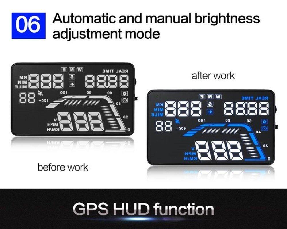MRCARTOOL 5.5'' Q7 Car HUD Head Up Display Speedometers Car Overspeed GPS Warning Dashboard Windshield Projector Reflective Film by AUTOOL (Image #7)