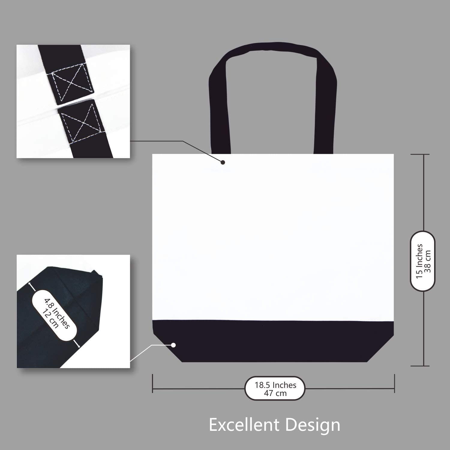 DIY Your Creative Designs pack of 2 Reusable Grocery Shopping Bags 6 TOPDesign 2 12 Pack Cotton Canvas Tote Bags with Magnetic Snap