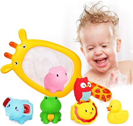 Fun Baby Bath Toys Fishing Net Floating Animals Water Toy Bathroom Fishing Hot