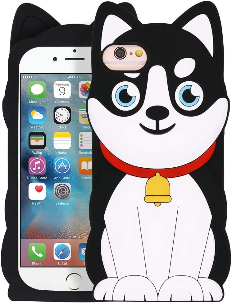 Megantree Cute iPhone SE 2020 case, iPhone 6 Case, iPhone 6s Case, iPhone 7 Case, iPhone 8 Case, Funny Husky Dog Pets 3D Cartoon Animals Soft Silicone Shockproof Case Cover for Girls Kids Boys Women