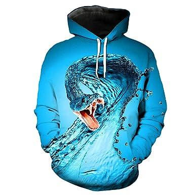 78998faafc4d Creative Dripping Snake Print Hooded Sweatshirt Blue 3D Pullover PT2024 S