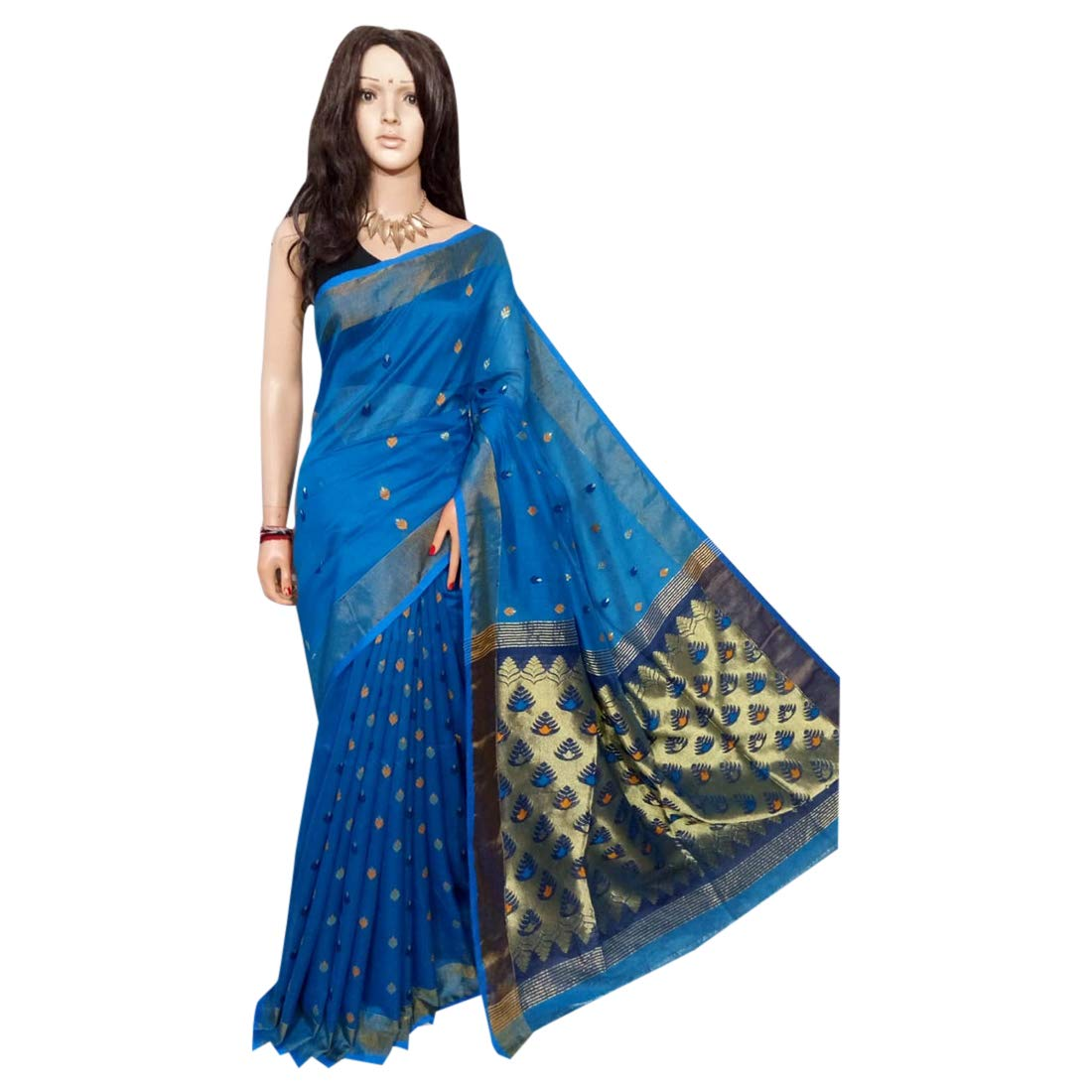 Indian Saree bluee Ethnic dhakai jamdani Sari Designer Collection Sari Party Formal Women Wear 105a