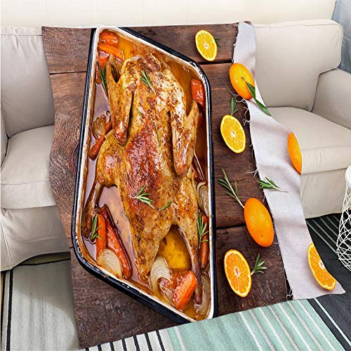 (BEICICI Home Digital Printing Thicken Blanket Roasted Duck with Vegetables Citrus and Rosemary Christmas Festive Table Hypoallergenic - Plush Microfiber Fill - Machine Washable)