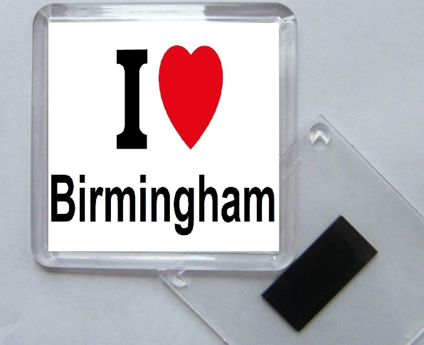 I Love Birmingham heart Square Acrylic Fridge Magnet