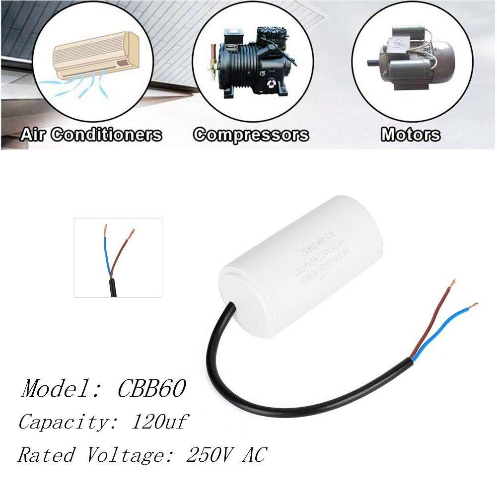 CBB60 Condensador de funcionamiento,Condensador para motor,De Color blanco,24V 120uf 250 VCA 50 / 60Hz,para la puesta en marcha de motores monofásicos con frecuencia de 50Hz y 60Hz