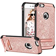 iPhone 6 Case iPhone 6S Case with Kickstand,GUAGUA Glitter Sparkly Pink Girls Women Slim Hybrid Hard PC Cover with Shinny PU Leather Anti-scratch Shockproof Protective Tough Phone Case for iPhone 6/iPhone 6S Rose Gold