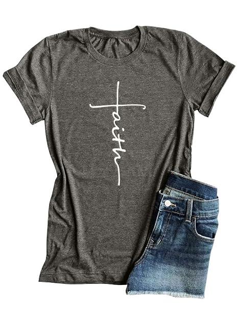 db3a88cc4db5c2 Nlife Women Cross Faith Printed T-Shirt Tank Letter Print T-Shirt Tank  Summer
