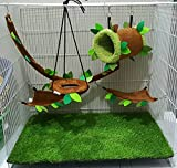 Hot Sale! 5 piece KPS Cute Sugar Glider Hamster Squirrel Small Pet Cage Set Forest Pattern Light Brown - Polar Bear's Republic