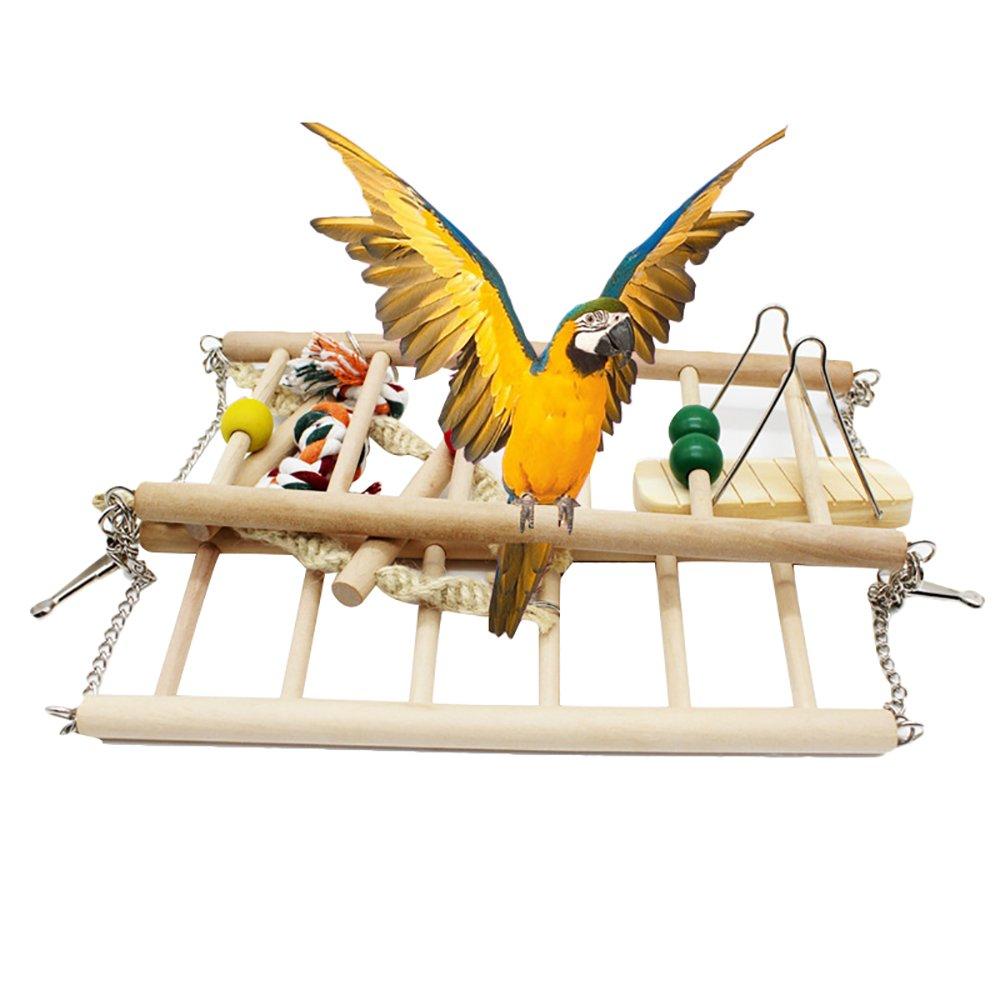 Urijk Jouet Échelle en Bois pour Oiseau Balançoire Suspendu Perroquet Terrain de Jeu Jouets Intelligent Jouet Interactif