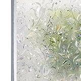 Homein Window Film Decorative Glass Films 3D Rainbow Window Sticker Static Cling No Glue & Self Adhesive Privacy Door Windows Stickers Artscape Window Tint for Bathroom Decoration, Heat Control & Anti UV,Tulip Flowers Pattern, 17.5 Inch By 78.7 Inch