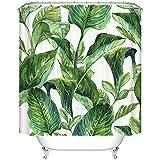 Ormis foglie verdi modello tenda da doccia resistente alla muffa in poliestere impermeabile doccia tenda set con ganci, 72pollici x 72pollici