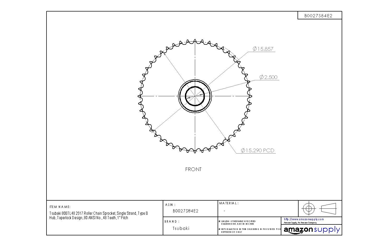 1 Pitch 48 Teeth 2517 Bushing Required Tsubaki 80BTL48 Roller Chain Sprocket Taperlock Design #80 ANSI No. Single Strand