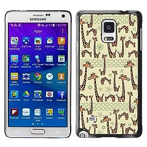 FECELL CITY // Duro Aluminio Pegatina PC Caso decorativo Funda Carcasa de Protección para Samsung Galaxy Note 4 SM-N910 // Beige Cartoon Animal Drawing