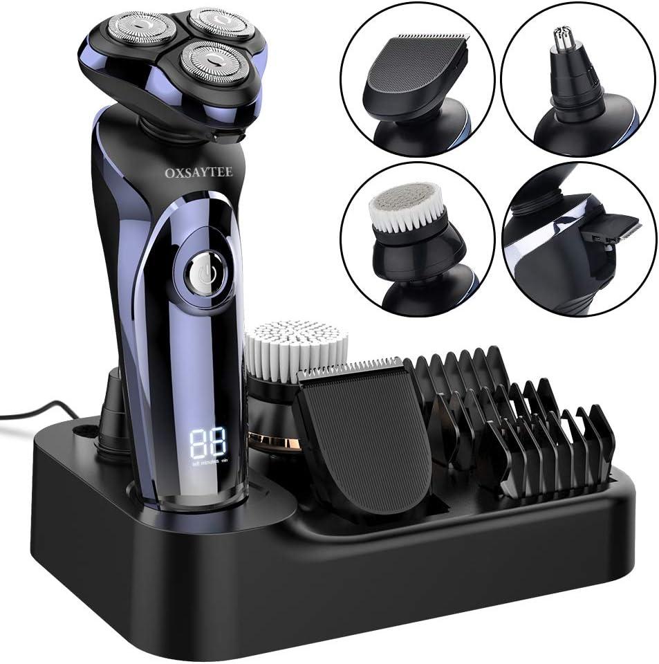 Afeitadora Electrica Hombre 4D Afeitadora Rotativa Inalámbrica Impermeable IPX7, Máquina de Afeitar Inteligente Display Digital, Uso Seco y Húmedo, Con Cepillo Facial y Recortador de Barba/Nariz