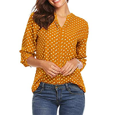 Weginte Women V-Neck Blouse Vintage Polka Dot Office Work Casual Shirt Patchwork 3/4 Sleeve Daily Cozy Tunic Loose Tee Tops at Women's Clothing store [5Bkhe0202832]