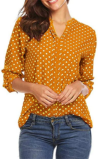 Camisetas Manga Larga para Mujer Sexy Moda Camisa con Botones Talla Grande 3/4 Manga Cuello en V Blusas de Lunares Mujer Elegant de Oficina Camisa Tops Camiseta BuyO: Amazon.es: Ropa y accesorios