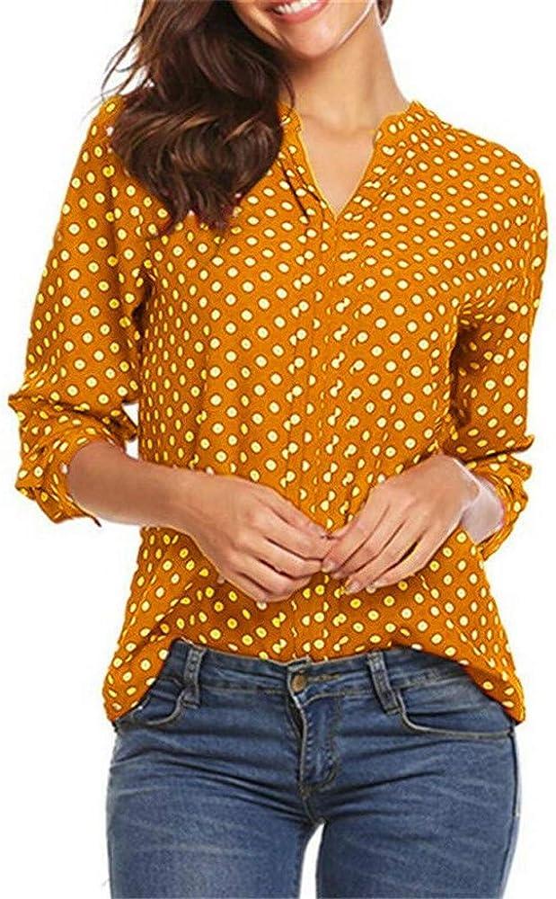 Blusa de Manga 3/4 con Lunares Mujer Tops para Trabajo Informal Oficina Camiseta Cuello en V Camisetas Mujer Corta Imprimir Blusas y Camisas Cuello Camisa Botones: Amazon.es: Ropa y accesorios