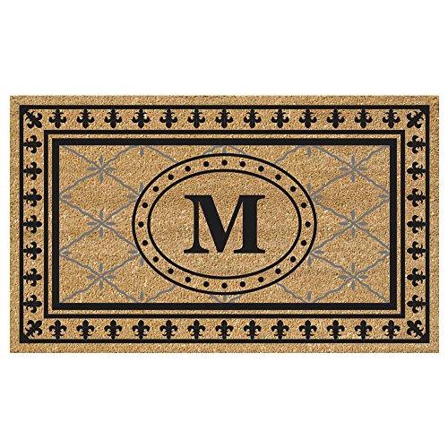 (Nedia Home Super Scraper Bungalow Vinyl Coir Doormat, Monogrammed M, 20 x 36