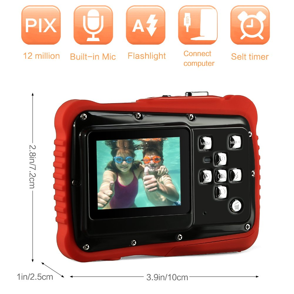 PELLOR Waterproof Sport Action Camera Kids Camera Camcorder 8M Pixels (Black, Screen: 2'') by Pellor (Image #3)