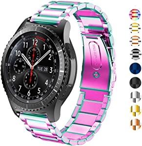 SPINYE Band Compatible for Galaxy Watch 46mm / Galaxy Watch 3 45mm, 22mm Solid Stainless Steel Metal Replacement Strap for Samsung Gear S3 Frontier/Classic/Moto 360 2nd Gen 46mm Women Men (Rainbow)