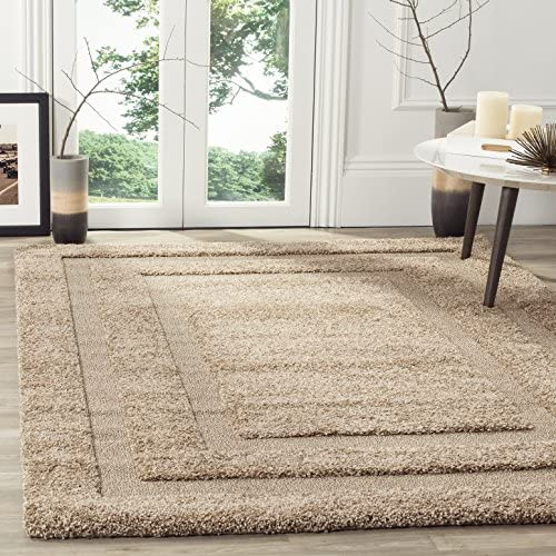 Safavieh Shadow Box Shag Collection SG454-1313 Area Rug, 8-Feet by 10-Feet, Beige and Beige