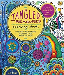 Tangled Treasures Coloring Book: 52 Intricate Tangle Drawings to Color with Pens, Markers, or Pencils - Plus: Coloring schemes and techniques by Jane Monk (2015-08-01)
