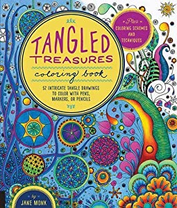 Tangled Treasures Coloring Book: 52 Intricate Tangle Drawings to Color with Pens, Markers, or Pencils - Plus: Coloring schemes and techniques by Jane Monk (2015-08-06)