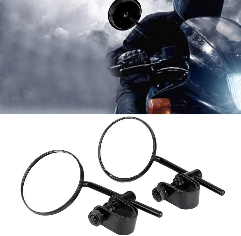 Qii lu 1 paio Specchietto retrovisore per moto nero Specchietto retrovisore modificato riflettente di forma rotonda vintage per moto