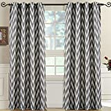 """Set of 2 Panels 108″Wx63″L -Royal Tradition-Charcoal- Abstract Lisette Chevron Jacquard Curtain, 54-Inch by 63-Inch each Panel. Package contains set of 2 panels 63 inch long"""