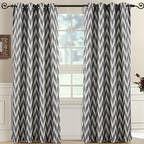 """""""Set of 2 Panels 108″Wx63″L -Royal Tradition-Charcoal- Abstract Lisette Chevron Jacquard Curtain, 54-Inch by 63-Inch each Panel. Package contains set of 2 panels 63 inch long"""""""