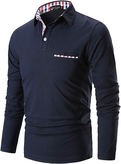 STTLZMC Casual Polo Hombre Mangas Largas Camisetas Deporte Algodón ...
