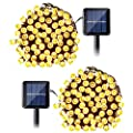 Qedertek Solar String Lights, 2 Packs 100 LED, 33ft, Warm White, Waterproof Outdoor Decoration Lighting, for Wedding, Holiday Event Party, Tree and House Decor