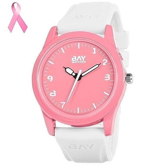Bay Reloj Y Watches Mujer Hombre Blanco De Pulsera Rosa Para orxdWQCBe