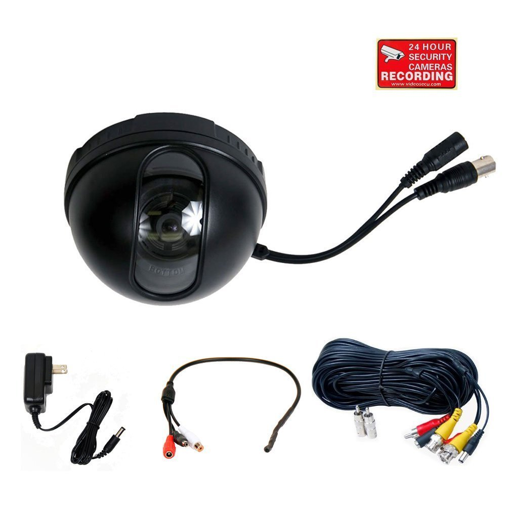 VideoSecu Security Camera 1/3'' CCD Dome 420TVL 3.6mm Wide Angle Lens for Home CCTV DVR Surveillance System with Power Supply, Preamp Microphone, Extension Cable and Security Warning Sticker DM35B BL7 [並行輸入品] B01KBRC31K